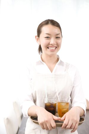 oficinista: Mujer empleado está riendo Foto de archivo