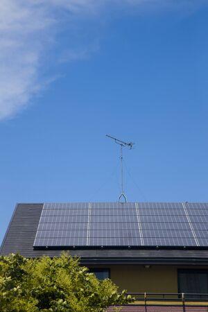 solar panel house: Solar panel house roof Stock Photo