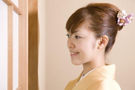 gratification: Women dressed in kimono Stock Photo