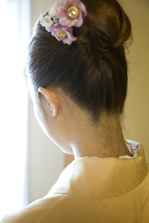 back shot: Back shot of a woman wearing a kimono