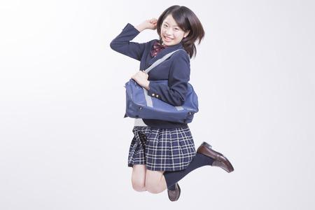 High school girls to jump Archivio Fotografico
