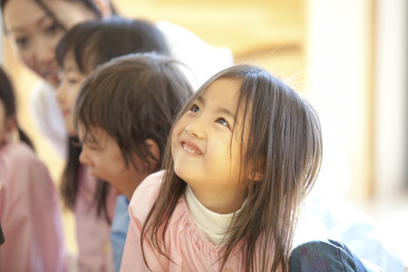 Kindergarten girls smile Stock Photo