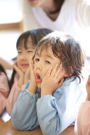 chin: Smiling, Chin on preschool children