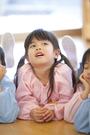 Smiling, Chin on preschool children Stock Photo - 47166712
