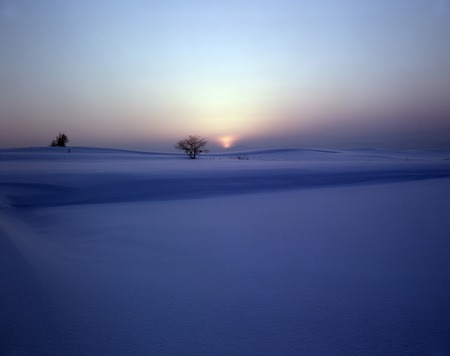 snowfield: Sunset and snowfield