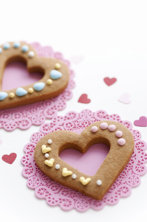 Colorful icing heart-shaped cookies 写真素材