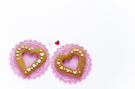 icing: Colorful icing heart-shaped cookies Stock Photo