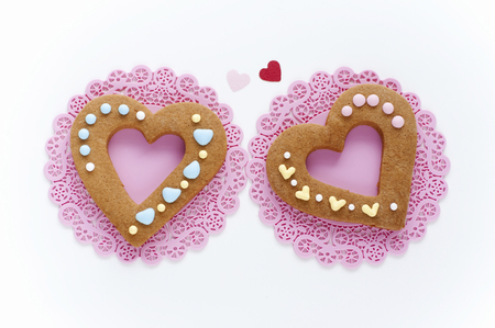 heartshaped: Colorful icing heart-shaped cookies Stock Photo