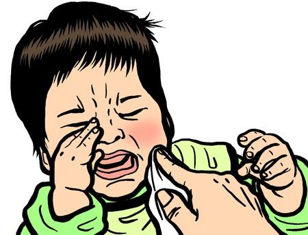 赤ちゃんの泣き声 写真素材