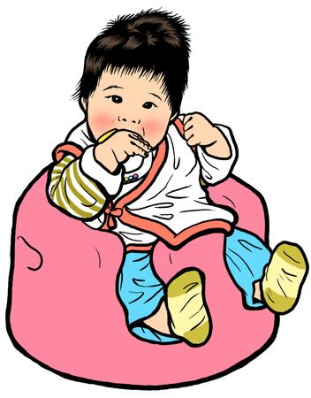 아기 앉아있는 스톡 콘텐츠