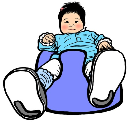 child sitting: Baby wear the shoes