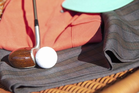 golf equipment: Golf equipment and golf balls Stock Photo