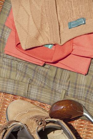 slacks: Golf equipment and golf balls Stock Photo