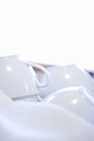 plurality: A plurality of white coffee cup Stock Photo