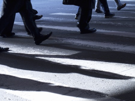 those: Those who cross the pedestrian crossing Stock Photo