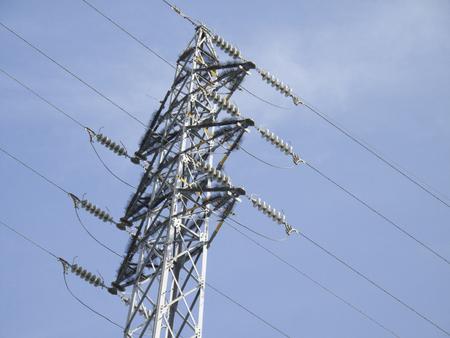 steel tower: high pressure steel tower that wild birds except equipment has been installed Stock Photo