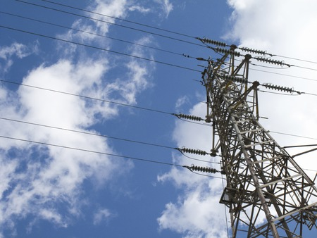 steel tower: Wire and steel tower of high voltage