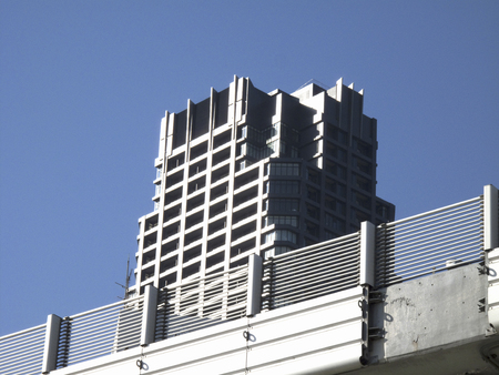 sidewall: The side wall of the motorway and high-rise apartment