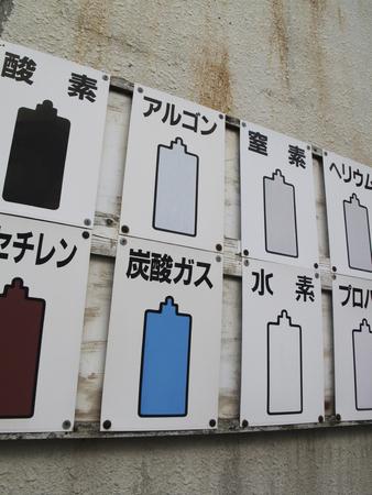 cilindro de gas: Placa de la exhibición de cilindro de gas Foto de archivo