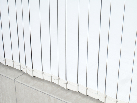 awnings windows: White accordion blinds in the window Stock Photo
