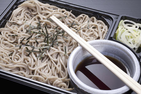 soba: Cold soba noodles with dipping sauce lunch