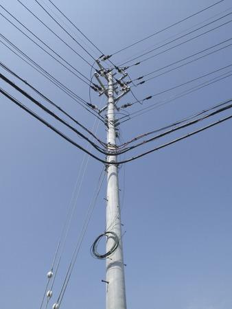 utility pole: Corner utility pole Stock Photo