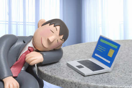 dozing: Doll to the dozing while the personal computer