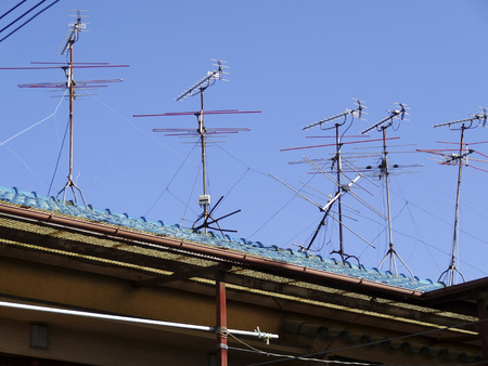 tv antenna: Roof of TV antenna cultural house Stock Photo