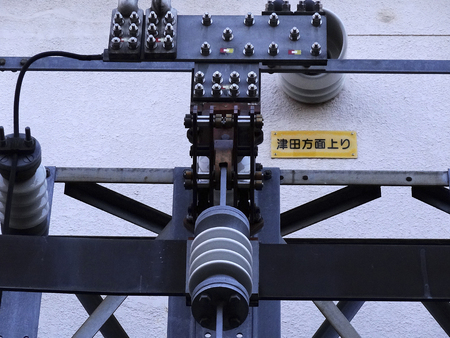 substation: Steel a bolt of railway substation equipment