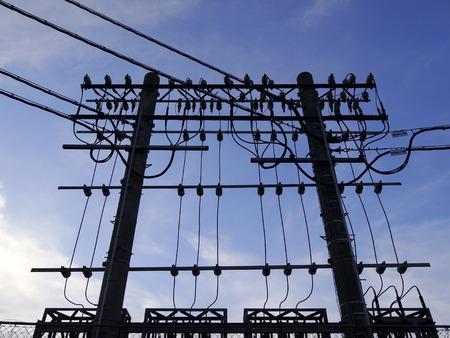 the equipment: Silhouette of railway substation equipment