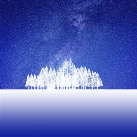 snowscape: Starry sky and the snow scene