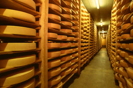 ripening: Cheese ripening warehouse in