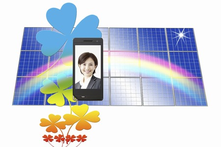 ol: OL smile reflected on the mobile screen and solar panels Stock Photo