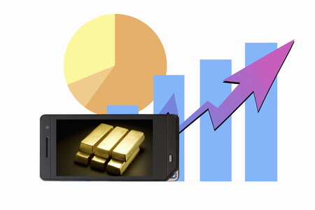 net worth: Bullion that moves to the mobile screen Stock Photo