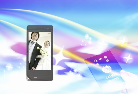 Bride and groom on the mobile screen photo