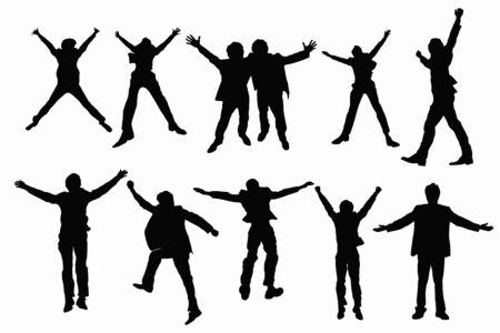 hurray: Jump silhouette Stock Photo