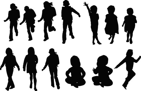 Children silhouette 版權商用圖片 - 43603436