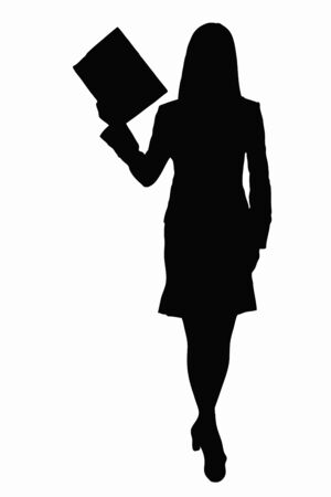 asian office lady: OL silhouette Stock Photo