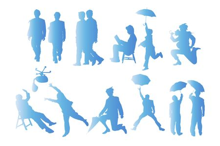hurray: Business people silhouettes Stock Photo