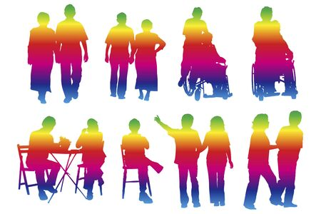 asian couple: Elderly couple silhouette