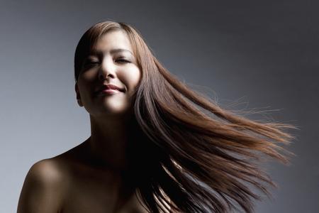 straight man: Straight hair female Stock Photo