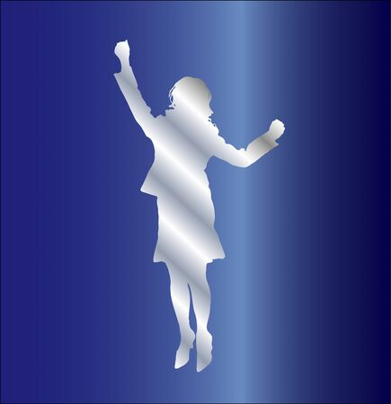 the whole body: Silhouette of a woman to jump