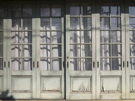 sliding door: Old wooden sliding door Stock Photo