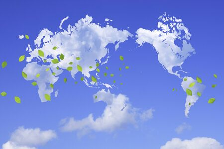 computer dancing: World map and fresh green leaves of clouds Stock Photo