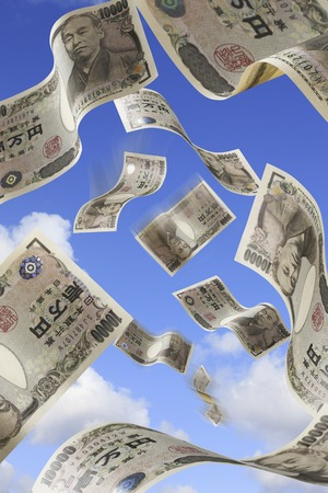 plural number: Blue sky and money Stock Photo