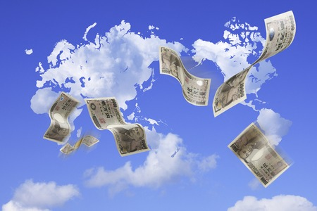 World map and money cloud