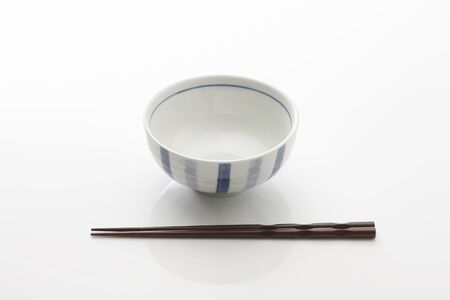 rice bowl: Rice bowl and chopsticks