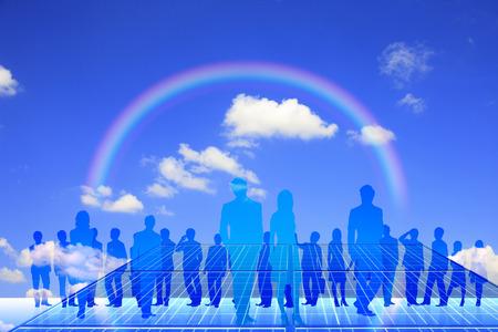 comrade: Rainbow and the crowd Stock Photo