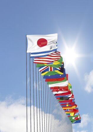 nations: Blue sky and the flags of all nations