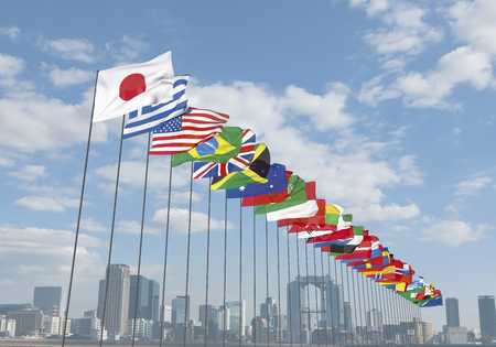 global: Buildings and flags of all nations Stock Photo